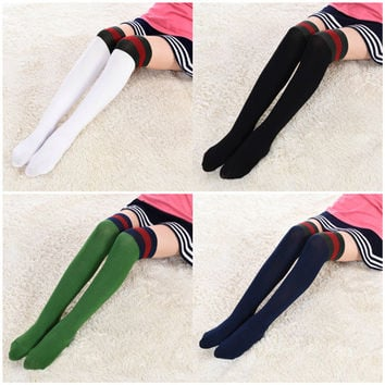 2016 Girls Over Knee Stocking Cotton Kids Knee High Socks Thigh High Long Student School Socks Stripes Children Sport Socks 48CM