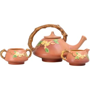 1948 Roseville Pottery Pink Coral Apple Blossom Tea Set #371