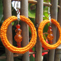 SALE - Crochet Hoop Earrings in Bright Orange with Crackled Glass and Carnelian Beads, H14