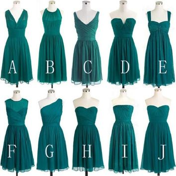 Mismatched A-line Sleeveless Ruched Embellished Empire Mini Length Green Chiffon Short Bridesmaid Dresses on Summer Wedding