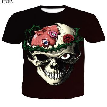 Skull print horror  Men Short Sleeve T-shirt 3D T Shirt Casual