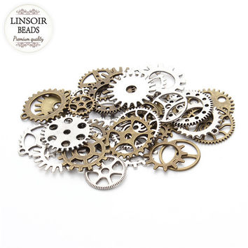 30pcs/lot Mixed Vintage Plated Steampunk Wheel Gear Silver Charms Pendant Fit Bracelets Necklace DIY Metal Jewelry Making F2630