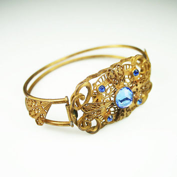 Art Deco Bracelet Sapphire Blue Crystal Gilt Filigree Metal Hinged Antique Jewelry