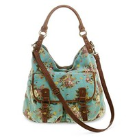 Olsenboye® Floral-Print Washed Canvas Hobo Bag