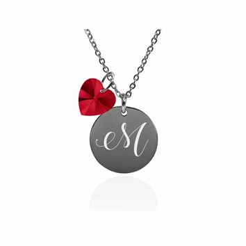 Dainty Initial Necklace made with Crystals from Swarovski  - M