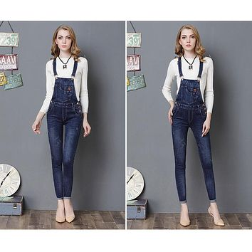 Camisole Bell-bottoms Sheath Backless Pure Denim Jumpsuits