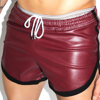 Vegan Pin-Dot Leather Running Shorts-Burg