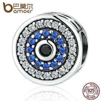 BAMOER Real 100% 925 Sterling Silver Blue Crystals Eyes Round Bead Charms Fit Women Charm Bracelets & Bangles Jewelry SCC092