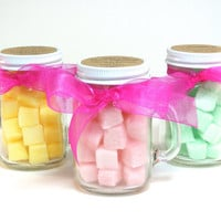Wedding Favor, Flavored Sugar Cubes- 20 Mini Mason Jar Mugs for Weddings, Bridal and Baby Showers, Tea Party, Bat Mitzvah Favor