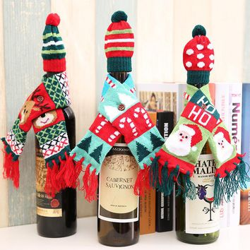 Christmas Knitted Scarf Hat Wine Bottle Cap Decoration Sets