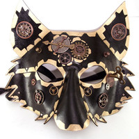 Black and Gold Steampunk Leather Wolf Mask with Gears, Watch Hands, and More!
