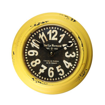 "Yellow Iron Retro Vintage-Inspired Circular Wall Clock ""Chef Le Normand"""