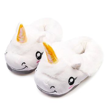 Winter Children Unicorn Slippers For Kids Plush Baby Girls Boys Cartoon cotton Slippers With Closed Heel Adult Home Flip Flops