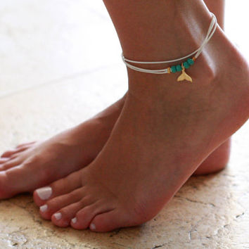 White Anklet - Multistrand Ankle Bracelet - Gold Anklet - Foot Jewelry - Foot Bracelet - Chain Anklet - Summer Jewelry - Beach Jewelry