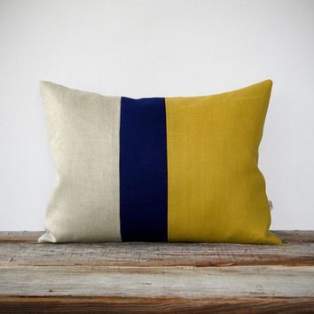 As Seen In Hgtv Magazine Color Block Pillow Mustard Yellow Navy And Natural
