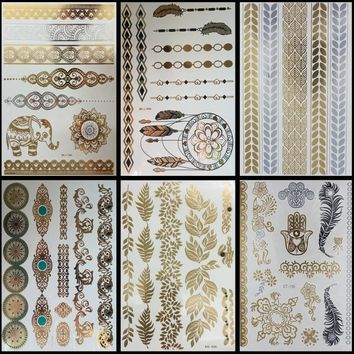 6 PCS/ lot Gold Choker Temporary Tattoo Body Art Sleeve Arm Flash Tattoo Stickers, 21*15cm Waterproof Tatto Henna Fake Tatoo