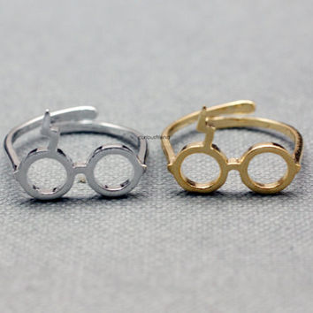 Cute Harry Potter Glasses Adjusted Ring - available color as listed (Gold, Silver, Pink Gold)