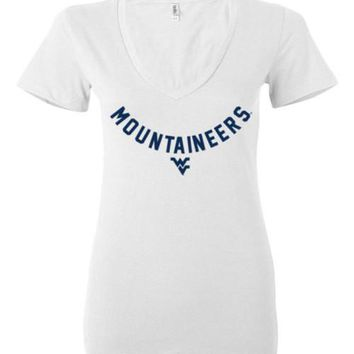Official NCAA West Virginia University Mountaineers Hail WVU Ladies Deep V-Neck - 58C-WV