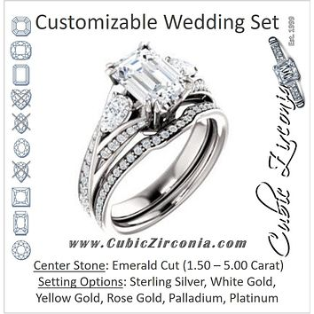 CZ Wedding Set, featuring The Jackie engagement ring (Customizable Emerald Center with Flanking Pear Accents and Pavé Band)