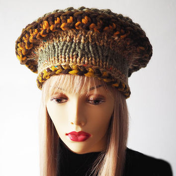 Slouchy beanie , Ready to ship, Multicolor crochet hat , Gold & brown hat , Dread hat , Fashion knit hat , Woman winter hat , Rasta hat