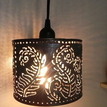 Pendant lamp, farmhouse/boho lighting,metal lamp,Fern pattern,welded art, upcycled lighting,tin can lantern.Edison bulb pendant light.