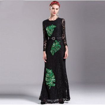 ONETOW New Fashion Women Autumn Maxi Dress 2016 Full Sleeve Leaves Sequined Floor Length Slim Lace Long Dress