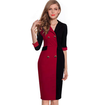 One Piece Spring Autumn Elegant Formal Sheath Pencil  Dresses Formal Women Patchwork Wear To Work Office Business Dress B273