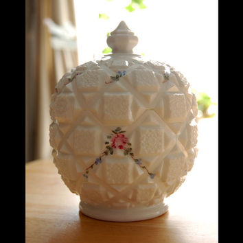 Westmoreland Milk Glass Round Compote, Old Quilt Pattern, Ball Shaped Candy Dish with Lid, Hand Painted Flowers