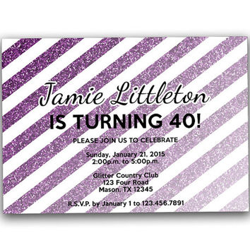 Woman Purple Glitter Adult Birthday Invitations - Striped Milestone Invitation - Invite for Female - Red  Gold Black 40th 50th 60th 70th