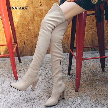 2017 new faux suede winter stretch thigh boots zip lace up suqare high heel pointed to  number 1