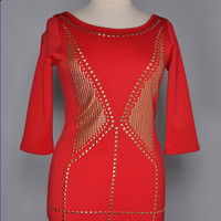 PLUSH STUDDED RED DRESS