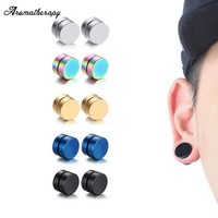 Punk Mens Strong Magnet Stainless Steel Circle Magnetic Clip Earrings Magnet Fake Plugs No Piercing Clip On Jewelry