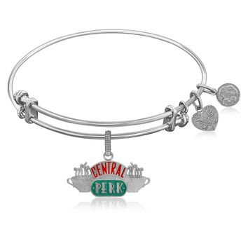 Expandable Bangle in White Tone Brass with Central Perk Symbol