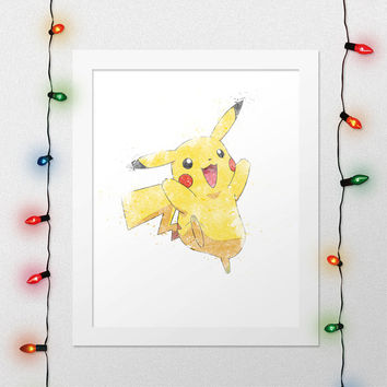 PIKACHU PRINT, Pikachu Poster, Pokemon, Pokemon Print, Pokemon Art, Anime, Nursery, Watercolor, Digital Print