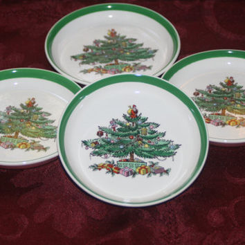 Spode Christmas Tree Butter Plate Set,Vintage Christmas