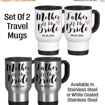 Travel Mug, Father Of The Bride Mother Of The Bride Set Pink Hearts Tea, Gift Idea, Stainless Steel 14 oz Coffee Cup