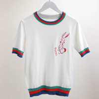 Round neckline, slim body, embroidered rabbit sweater T-shirt
