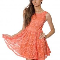 Coral Sleeveless Lace Skater Dress with Scoop Back