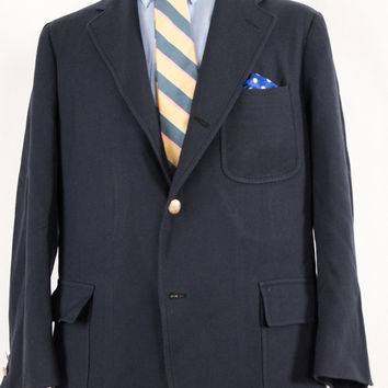 Mens Brooks Brothers Navy Blue Blazer 3-2 Roll Patch Pockets 42R Ivy League / Trad