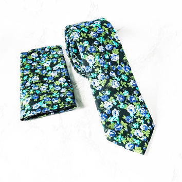 Matching Set Dapper Black/Green Floral Tie + Black Floral Pocket Square -  Floral Tie + Pocket Square Set - Wedding Black Floral Tie