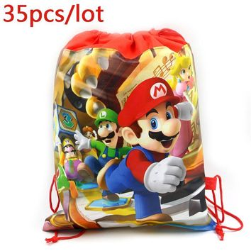 Super Mario party nes switch 35PCS Happy Birthday Party Kids Boys Favors  Cartoon Theme Bag Non-woven Fabric Drawstring Gifts Bags Decora Mochila AT_80_8