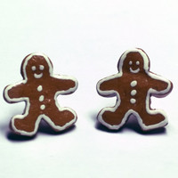 Gingerbread Man Earrings, surgical steel posts, polymer clay jewelry
