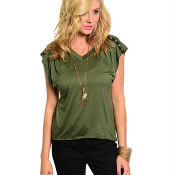 Huntress Green Gold Studded Top