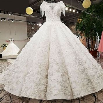 Beaded cap sleeve lace up beauty bridal wedding dressing gowns latest design