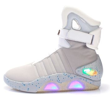 "Men basketball shoes Led light shoes men sneakers High quality ""Back to Future"" led glowing shoes for men COsplay high top shoes"