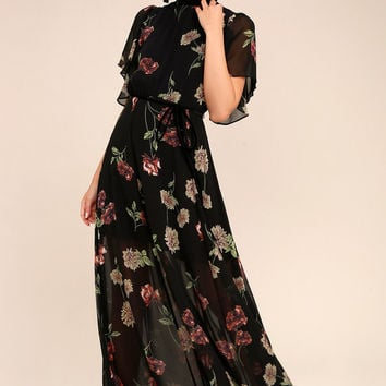 Every Little Thing Black Floral Print Maxi Dress