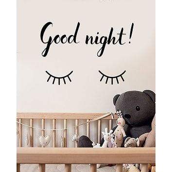 Vinyl Wall Decal Good Night Quote Words Decor For Nursery Stickers (3358ig)