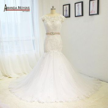 Off Shoulder Lace Applique Wedding Dress