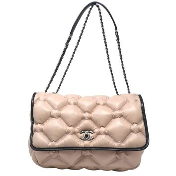 Chanel Bubble Flap Pink Leather Handbag