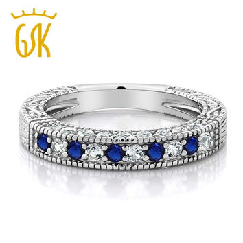 GemStoneKing Solid 925 Sterling Silver 1.00 Ct Blue and White Created Sapphire Studded Eternity Wedding Band Ring